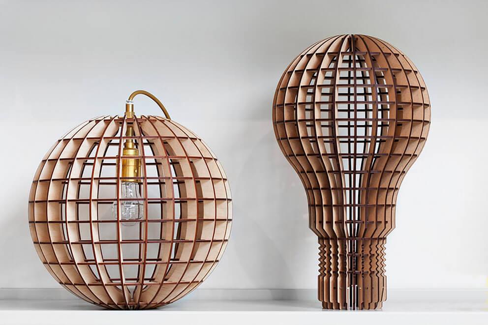Corte láser de madera para confección de lámparas