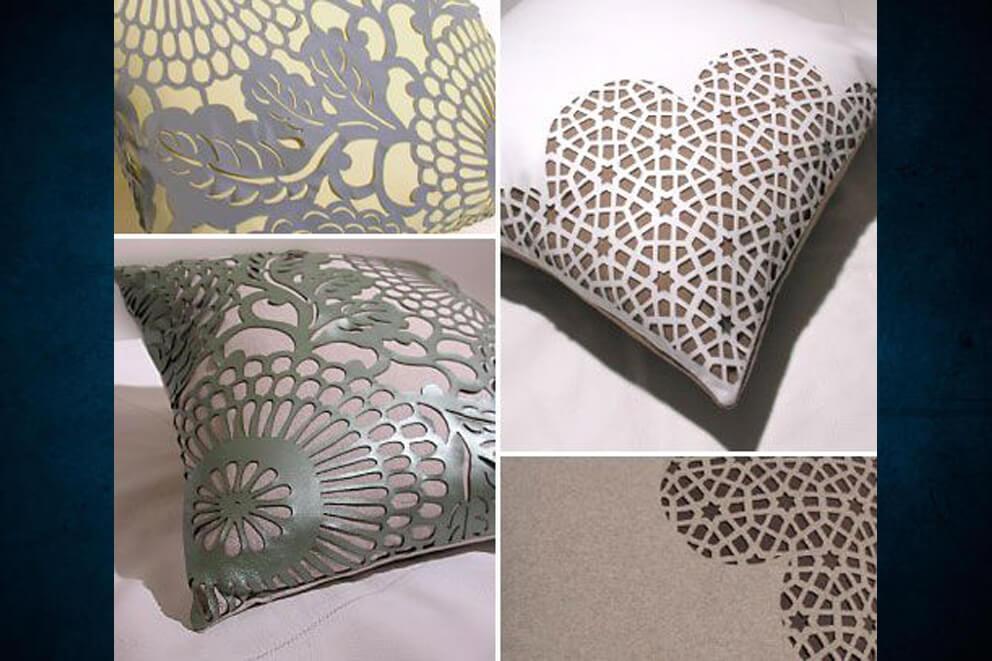 Corte láser en textil para confección de cojines