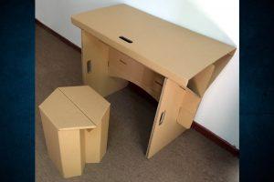 Fresado de cartón re-board para realización de piezas decorativas y mobiliario.