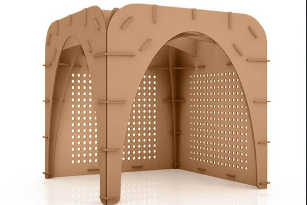Fresado de cartón re-board para realización de stands y mobiliario.